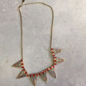 Jewelry - Red gold blue chevron statement necklace